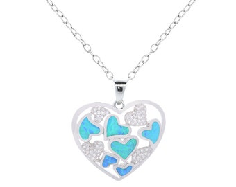 Genuine Blue Opal and Cubic Zirconia Heart Pendants
