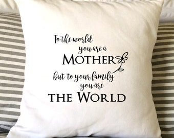 Mother's Day Pillow, Mother's Day Gift, Mothers Day Pillow, Mom Pillow, Burlap Pillow, Decorative Pillow,  16x16 Pillow, Throw Pillow,