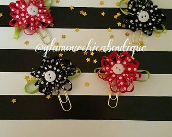 Flower Polka Dot Paperclips