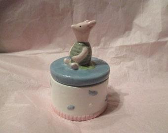 Vintage Ceramic Pooh PIGLET Trinket Box by Charpente for Disney