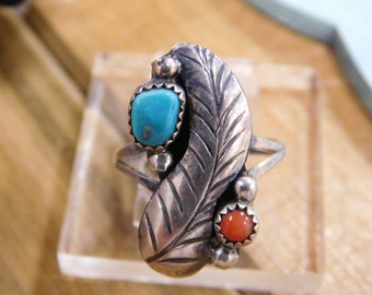 Ornate Turquoise and Coral Sterling Silver Ring