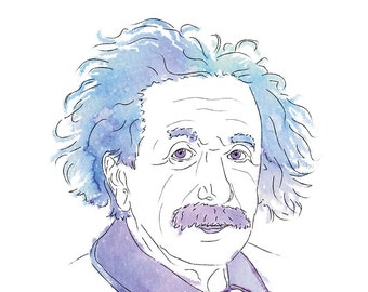 Albert Einstein Art Print, Thinker Series, Wall Poster, Science Illustration, A3 A4 Print, Digital Watercolor Drawing, Scentist Sketch