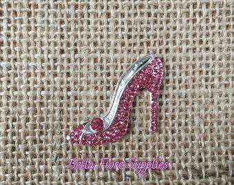 Pink High Heel Rhinestone Embellishment- Stiletto Rhinestone- 29mm- Shoe Rhinestone Flatback- Rhinestone for Headband -Wholesale