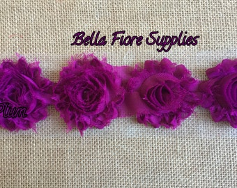 Plum Shabby Chiffon Rose Trim-2.5 inch- Shabby Chiffon Flowers- Wholesale-