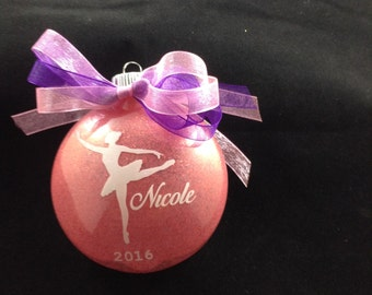 Personalized Pink Glitter Dancer-Ballerina Christmas Ornament