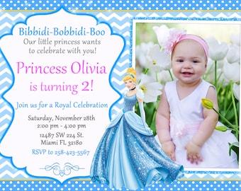 Princess Cinderella Invitation Birthday Princess Cinderella Party