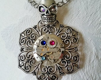 Steampunk Skull Pendant Necklace with watch movement and Swarovski Crystals