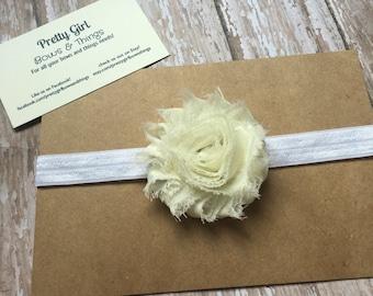 Ivory shabby flower headband