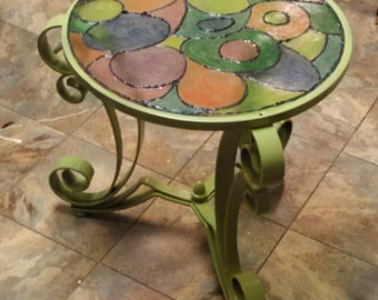 Stained glass indoor outdoor side table