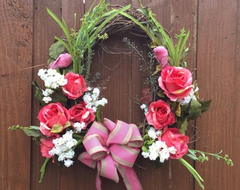 Spring Grapevine Wreath, Grapevine Wreath with Pink Roses and Greenery