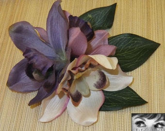 Hawaiian Dusk Triple Orchid Hair Flower -Pinup/Rockabilly/Vintage Girl/VLV-