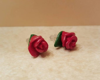 Rose Stud Earrings - Handmade Polymer Clay Earring Studs