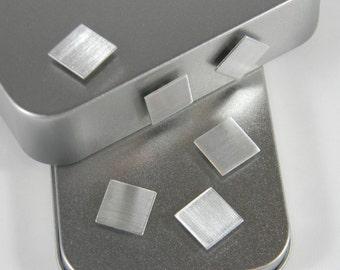 Aluminum Refrigerator Magnets - 1/2 Inch Aluminum Magnet - Modern Metal Magnets - Aluminum Magnet Set - Square Aluminum Magnets - ASQ01