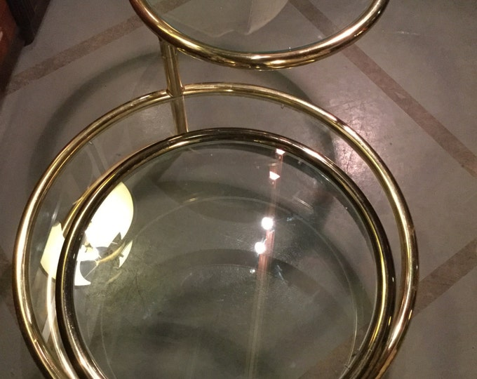 SOLD: Ca 1950s Brass and Glass cocktail Table in the manner of Milo Baughman