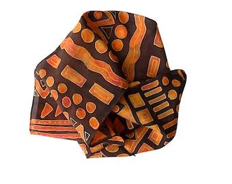 Geometric scarf. Hand painted silk scarf.  Autumn colours. Batik scarf. On Sale. Free Postage