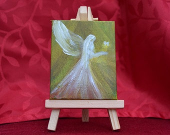 Mini canvas  with easel, SPRING ANGEL,original, hand-painted acrylic on canvas 9 x 7 cm