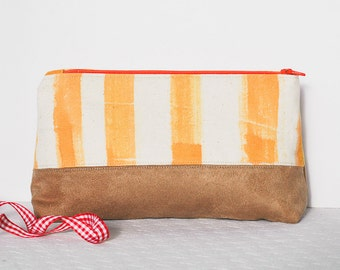 Hand painted Cosmetic make up pouch bag  canvas yellow orange zipped