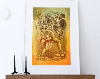 Hindu God Hanuman Print Vintage Hindu Decor Wall Art - Giclee Print on Cotton Canvas and Paper Canvas