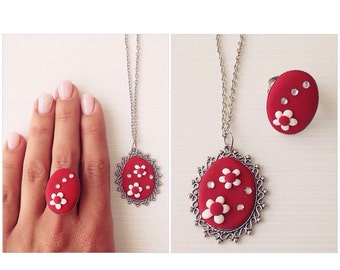 RING & NECKLACE with Fimo.