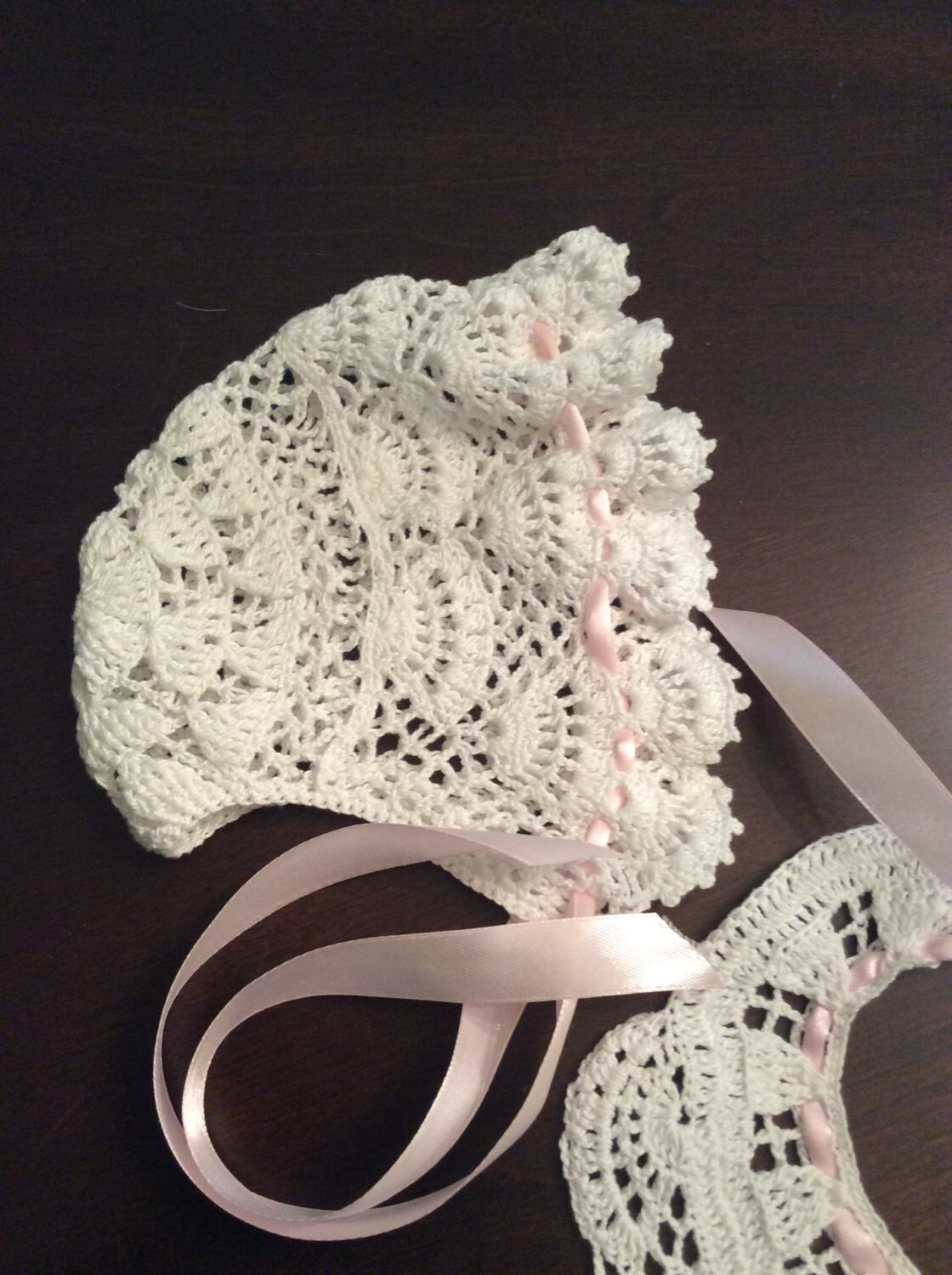 Crochet Baby Dress And Bonnet Pattern : baby Andrea crochet bonnet pdf pattern baby bonnet infant
