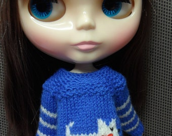 BLYTHE DOLL--  Blue Little Dog Sweater--Only No Doll
