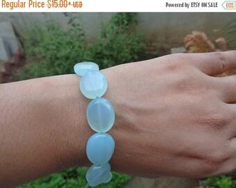 10% Off Natural Aqua Chalcedony Bracelet, Birthstone Bracelet, Blue Bracelet, Spiritual Jewelry, Healing Summer Jewelry, Yoga Bracelet,