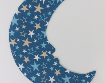 Fabric Wall Decal - Starry Moon, Nursery, Children's Room