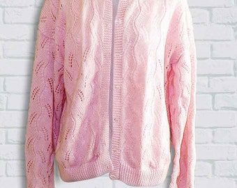 PINK Handmade knitted cardigan // Made in France // From the 70ies // UK 10 // US 8