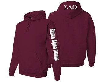 Sigma Alpha Omega Hooded Sweatshirt, Sigma Alpha Omega Pullover Hoody, Greek Apparel, Sorority Letters Clothing Sigma Alpha Omega Sweatshirt