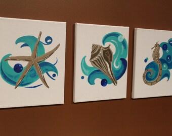 Sea Series starfish seahorse conch shell beach nursery wall art nautical wall decor