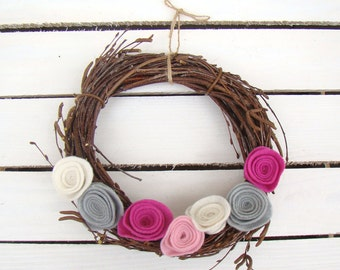Easter wreath, felt wreath, flower wreath, Easter decoration, twig wreath, door wreath, home decor, colorful wreath, boho wreath