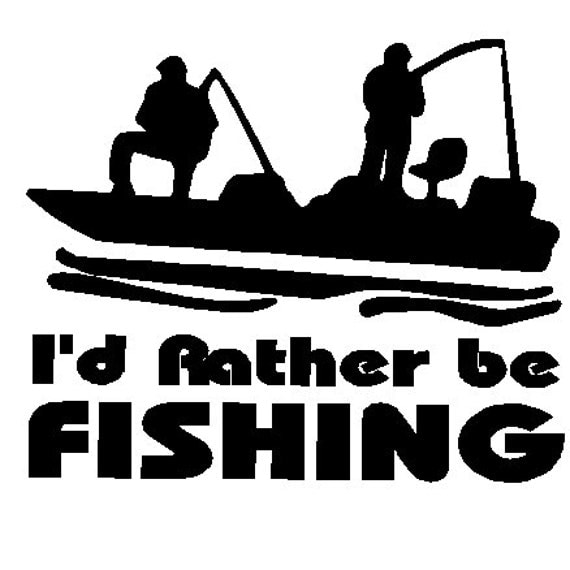 Items similar to i 39 d rather be fishing decal on etsy for Rather be fishing