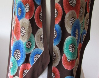 1930's bias cut silk crepe scarf stylized blooms in blues, greens & coral red