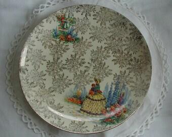 Vintage 1930's Morley Ware Crinoline Lady Sandwich Cake Plate