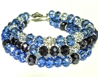"""7""""Triple Blue,Indigo&White Crystal Bracelet with Silver Plated Daisy Spacer Beads"""