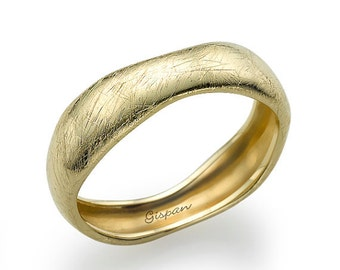 Asymmetric Wedding Ring, Mens Ring, Woman Ring, Wedding Band, Texture Ring, scratch ring, Unique wedding ring, band ring, yellow gold ring