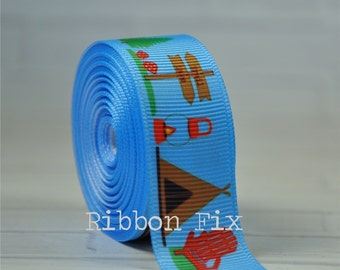 "2 yards 7/8"" Baby Blue Camping Grosgrain Ribbon - US Designer Print - Travel Tent -Campfire - Outdoors - Summer - Campground - Fishing Lake"