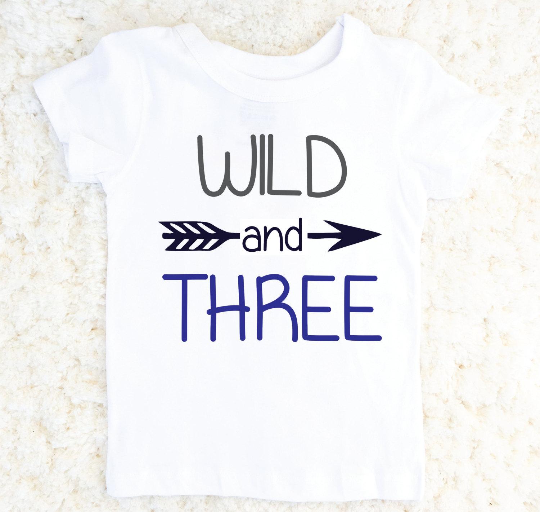 Wild And Three 3rd Birthday Outfit Shirt Third Tshirt