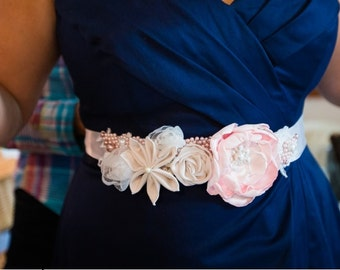 Custom Fabric Flower Sash
