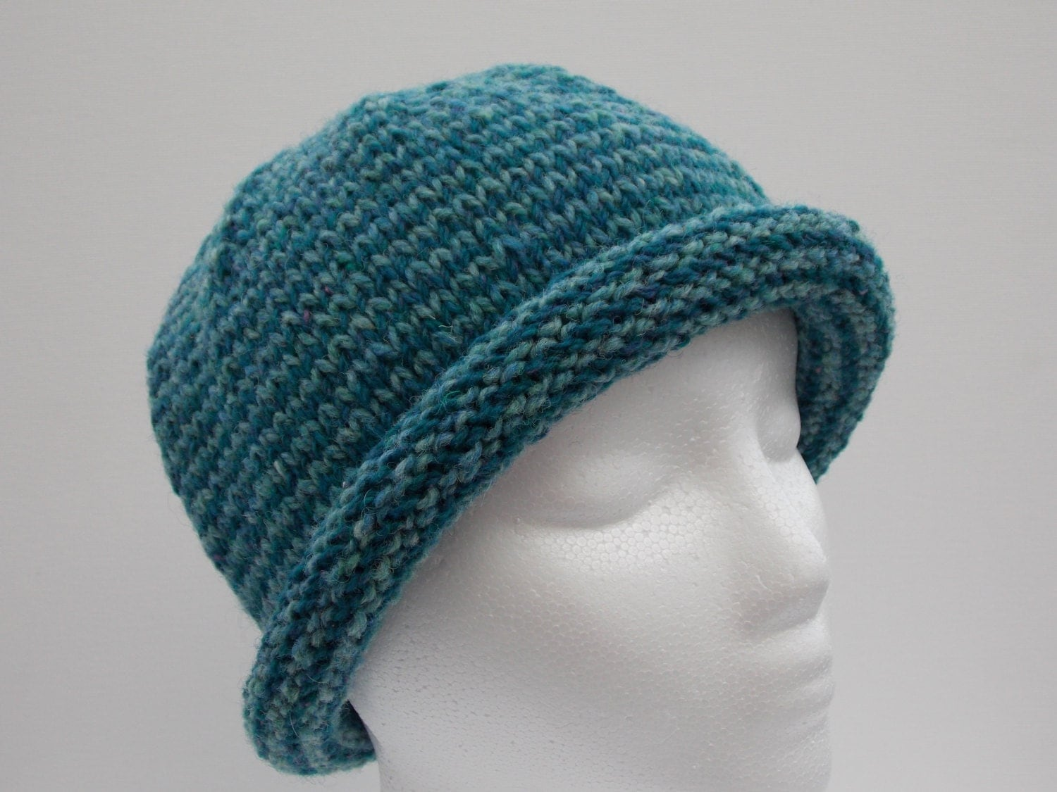 womens winter hat turquoise jade rolled brim by kathrynzdezign