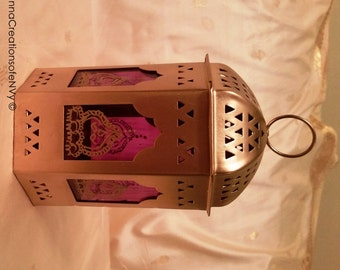 Exotic Moroccan Gold Lantern with Arabian Purple Glass Panels and Hand Painted Henna Motif