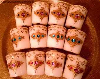 Set of 10 or 12 Glamorous Henna Candles with Jewel Tone Gemstones