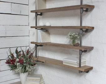 Roger Bespoke Reclaimed Scaffolding Boards and Dark Steel Pipe Wall Hung Shelving/Bookcase - made to order furniture by www.urbangrain.co.uk