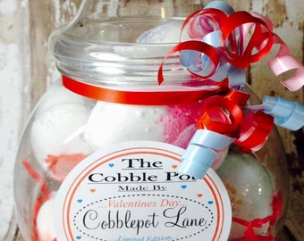 Bath Bomb and Lip Balm Gift Jar The Cobble Pot Valentines Gift Day For Her Bath Bomb Gift Set Bath Gift Set Bath Smellies