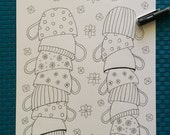 Adult Colouring Page Teetering Teacups