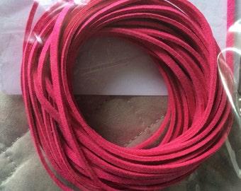 Pink suede cord, 3mm pink suede cord, hot pink suede cord, sparkly pink suede cord