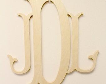 Wooden Monogram - Unpainted Wood Monogram - Wood Letters - Large Wood Monogram - Nursery Letters - Wooden Wall Sign - Fishtail Monogram