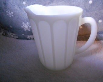 Exquisite pitcher by Hazel Atlas from 1920's ~ Opaque White glassware or Platonite