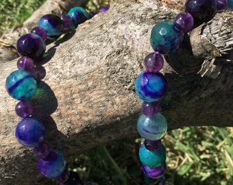 Gemstone necklace 8mm Apatite blue, purple & green agate cracked faceted round beads with Amethyst gemstone beads. Energy Healing Jewerly.