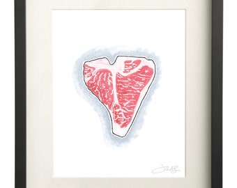 T-Bone Steak Watercolor | Meat Art | Food Illustration | Foodie Gift | 8x10 Print